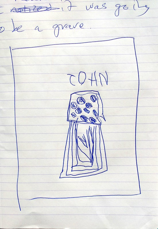 Albie's drawing of her John Demos grave
