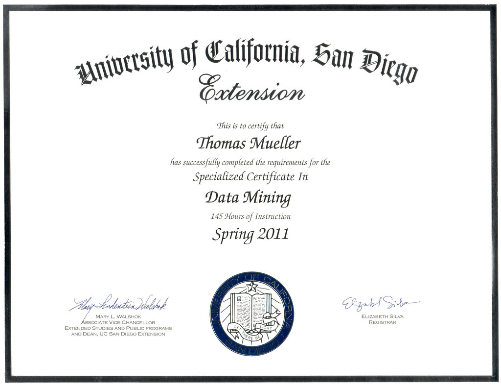 Thomas Mueller UCI Data Mining certificate | Some of my cert… | Flickr