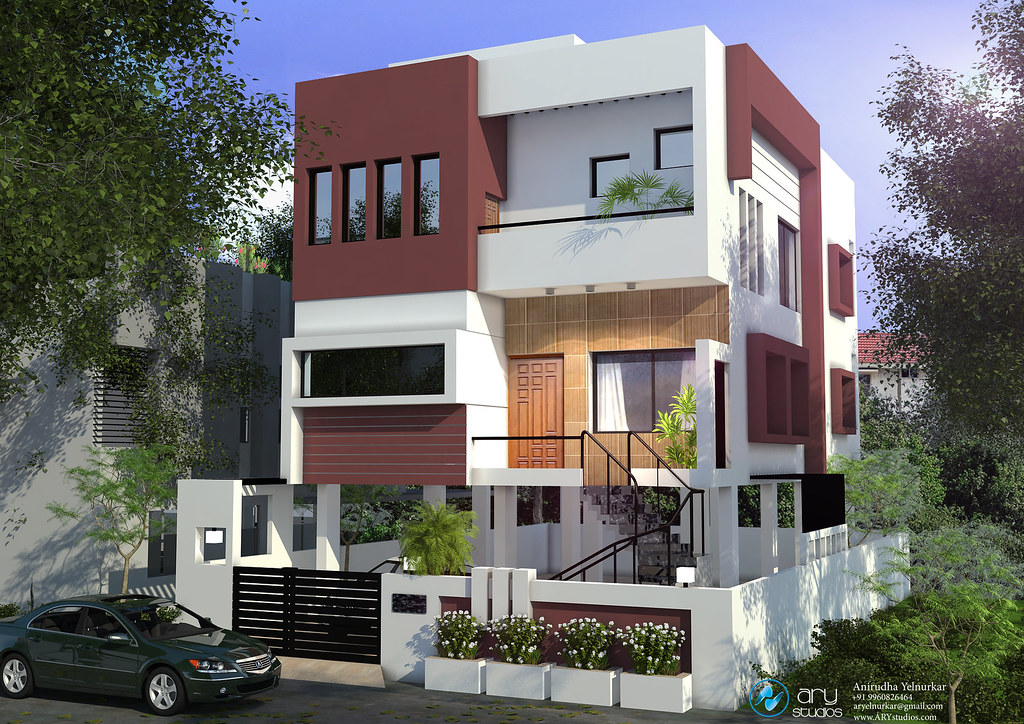 3d architectural rendering of villa with modern contempora for Apartment villa design