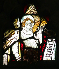 angel with a lance and banner