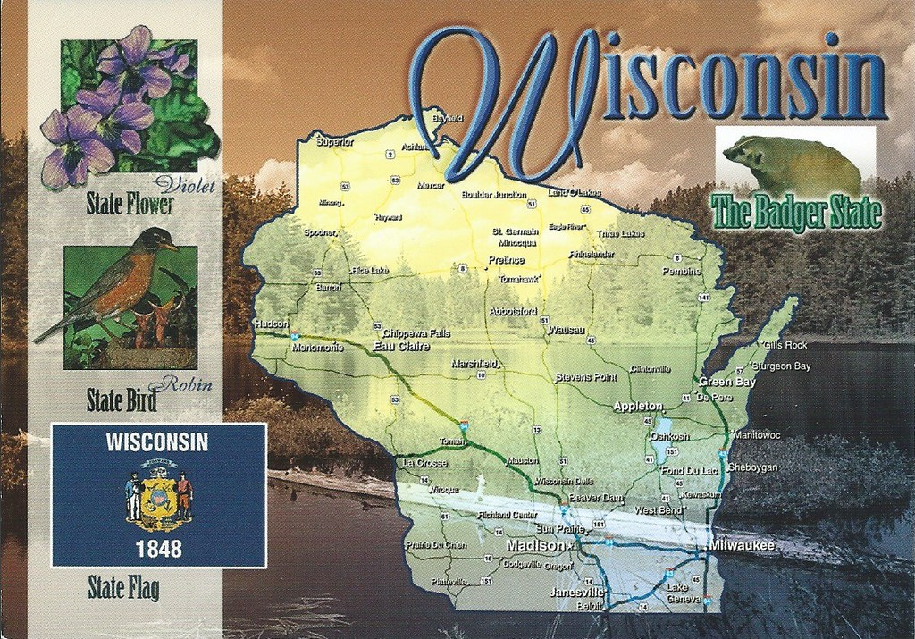 Wisconsin Map Postcard Erin Flickr