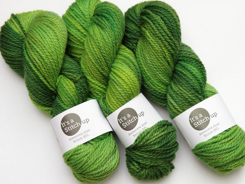 It's a Stitch Up Awesome Aran in 'Suffragette Green'