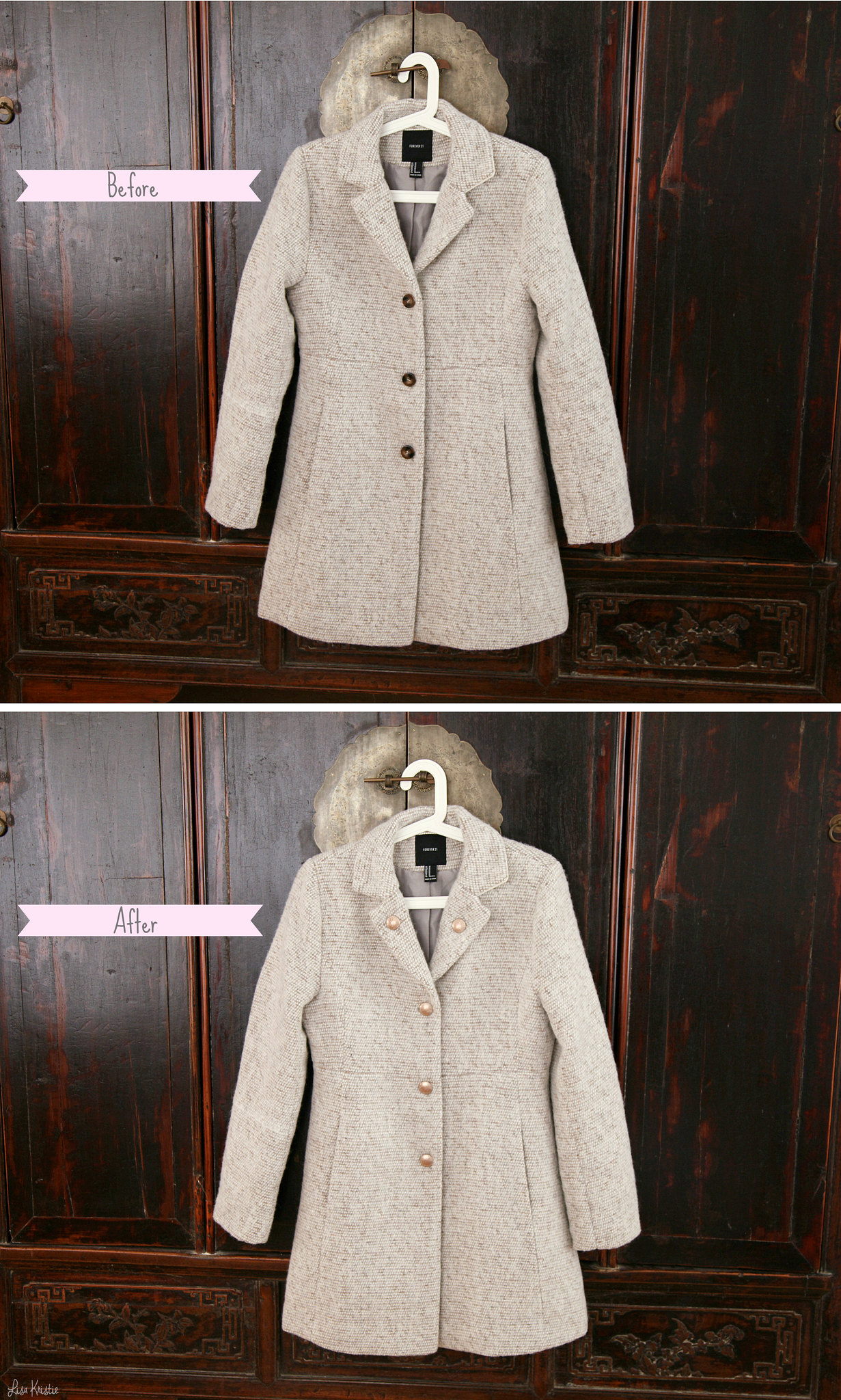 Forever 21 tweed collared coat in oatmeal color buttons change before and after result diy