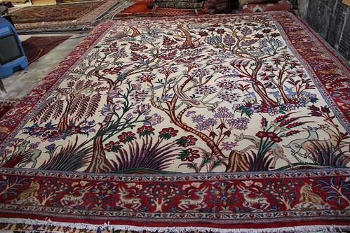 Tree Of Life Deer Qum Persian Rug 10x13 3000