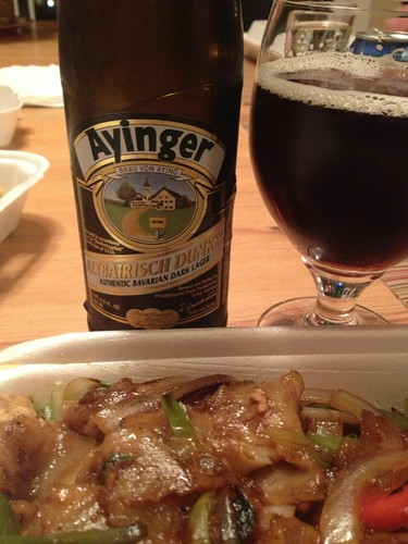Ayinger Albairisch Dunkel -- Medium bodied, pleasant malt character.  Clean and flavorful.  Excellent pairing for spicy Thai food.  7.5 | by devildog0802