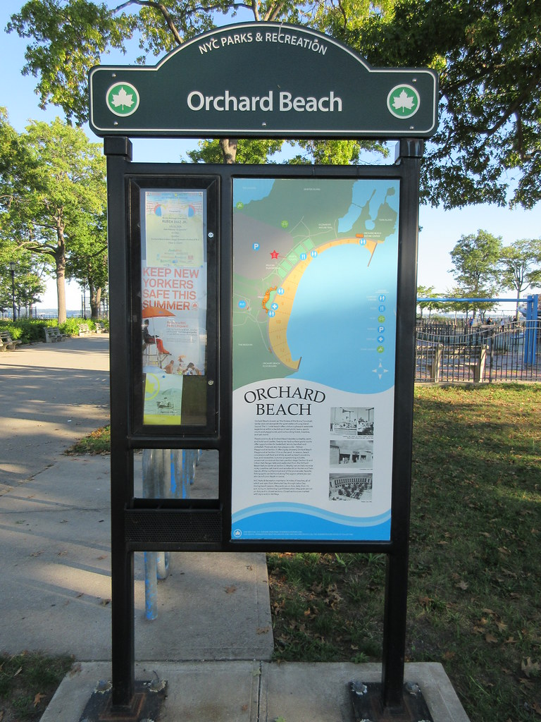 Orchard Park New York Map.Orchard Beach Info And Map Sign In Pelham Bay Park Bronx Flickr