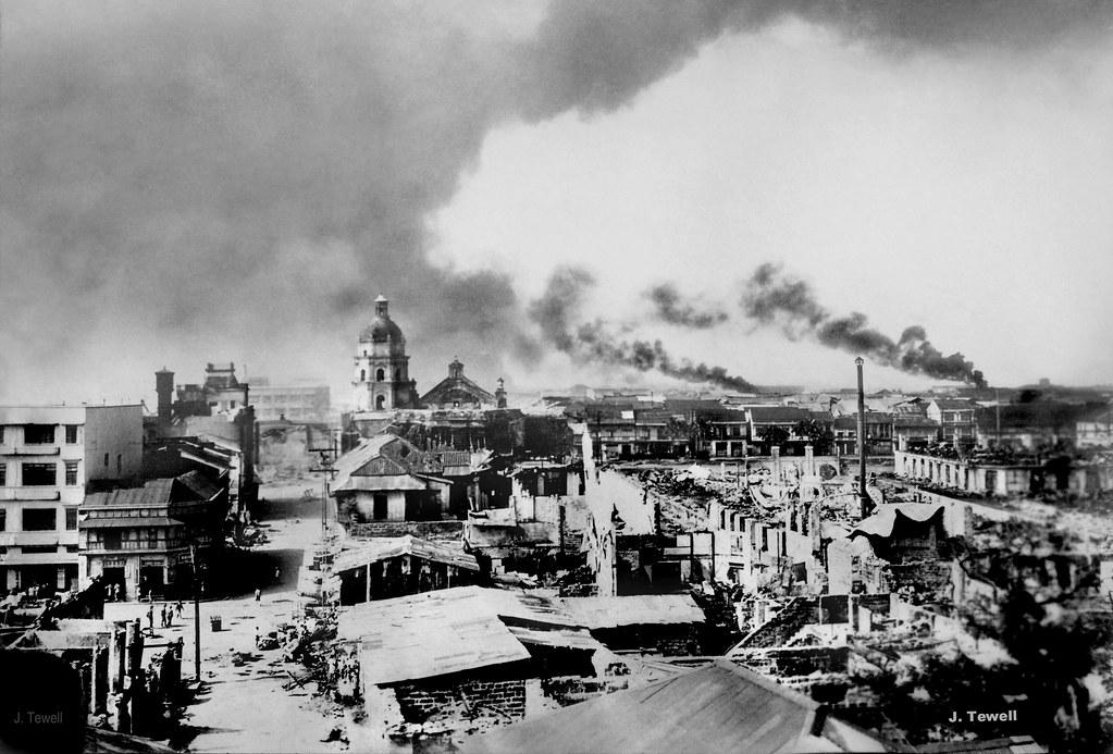 Manila Burning Wwii Battle For Manila Philippines Feb