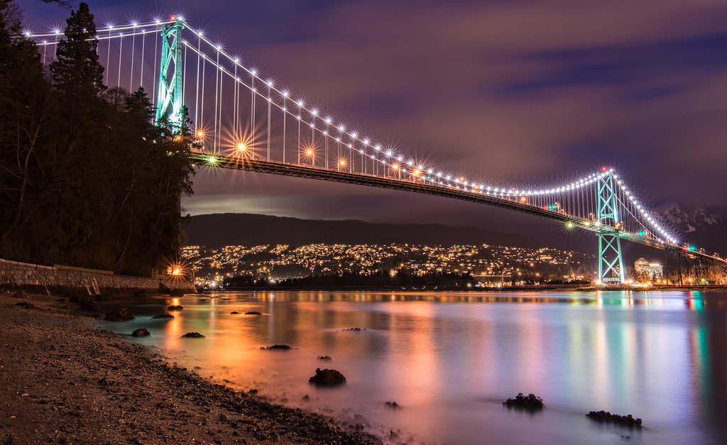 Lions Gate Bridge At Night Follow Me On Twitter Like