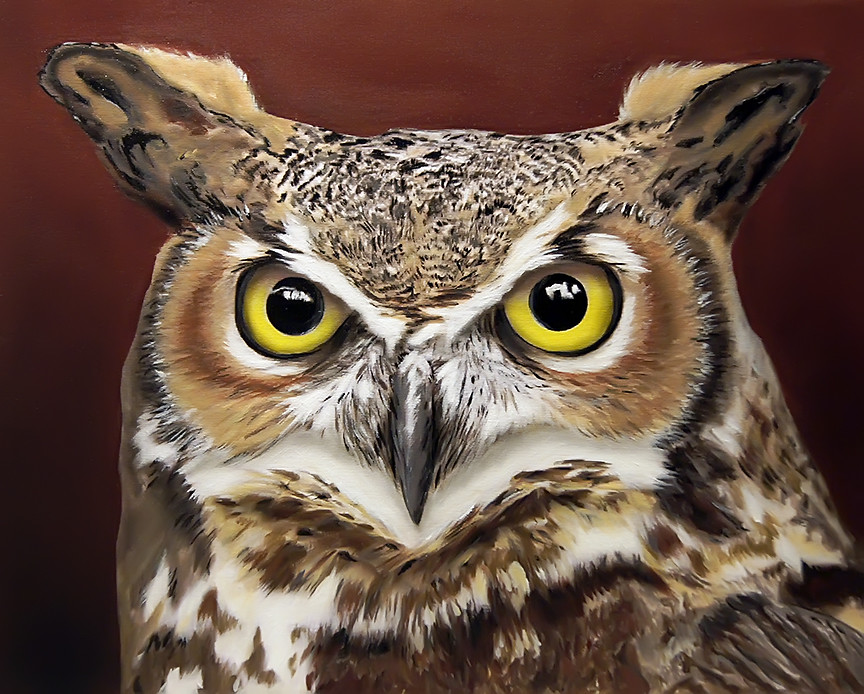 Great Horned Owl Acrylic Painting Acrylic And Airbrush On Flickr