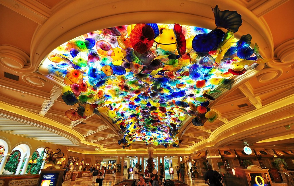 Bellagio Hotel Lobby With Dale Chihuly Glass Sculpture