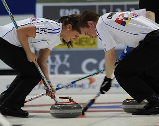 Penticton B.C.Jan13_2013.World Financial Group Continental Cup of Curling.Team World second Vicki Adams,third Greg Drummond.CCA/michael burns photo | by seasonofchampions