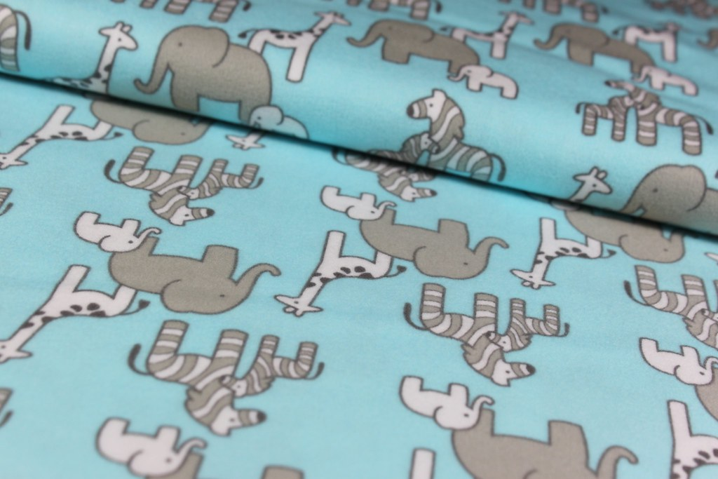 "Organic Fleece ""Little Safari"", blau"