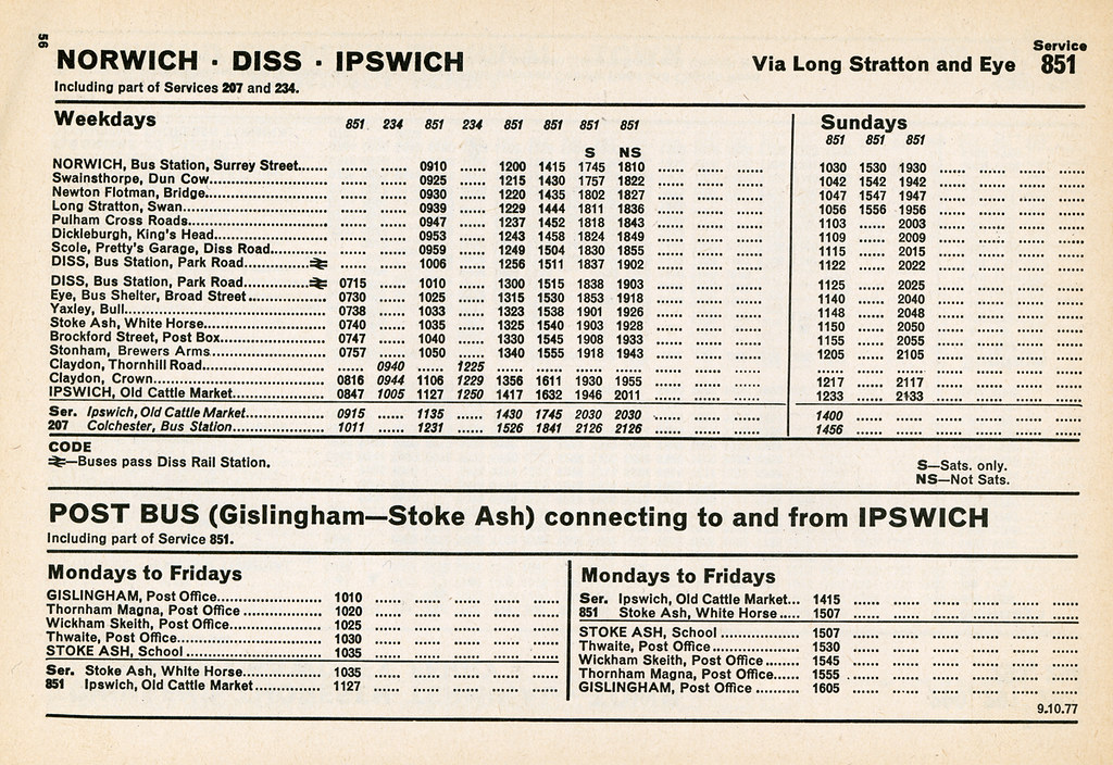 Eastern Counties Bus Timetable Service 851 Norwich To Diss To Ipswich October 1977