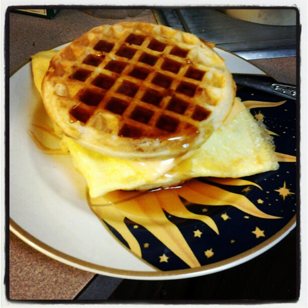 Bacon, egg and cheese sandwich. On waffles. With syrup. OMG. | Flickr ...
