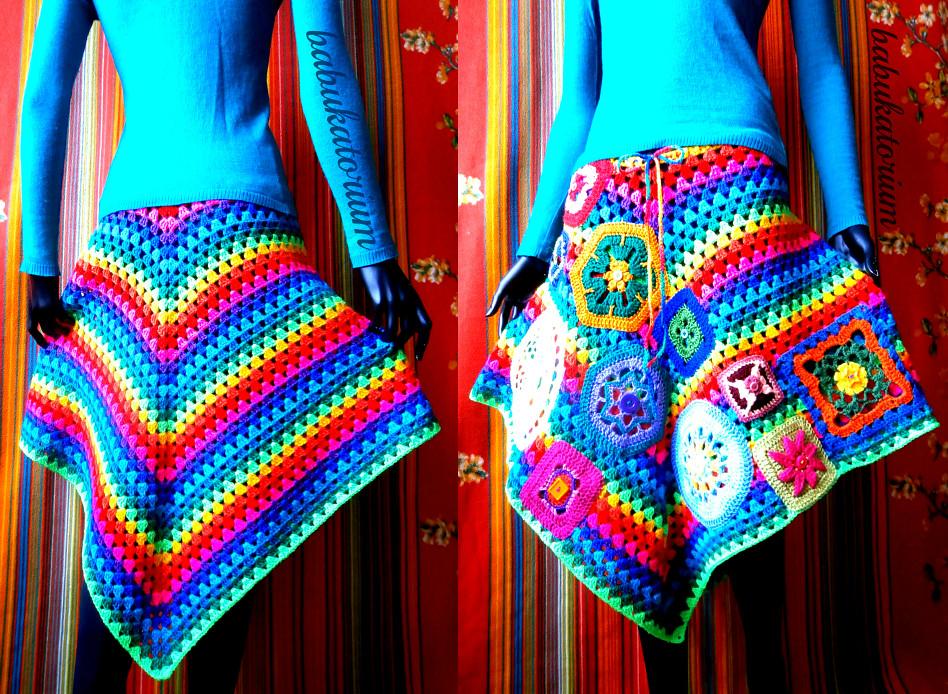 Crochet Poncho Skirt Rainbow Granny Stripes With Go Cr Flickr