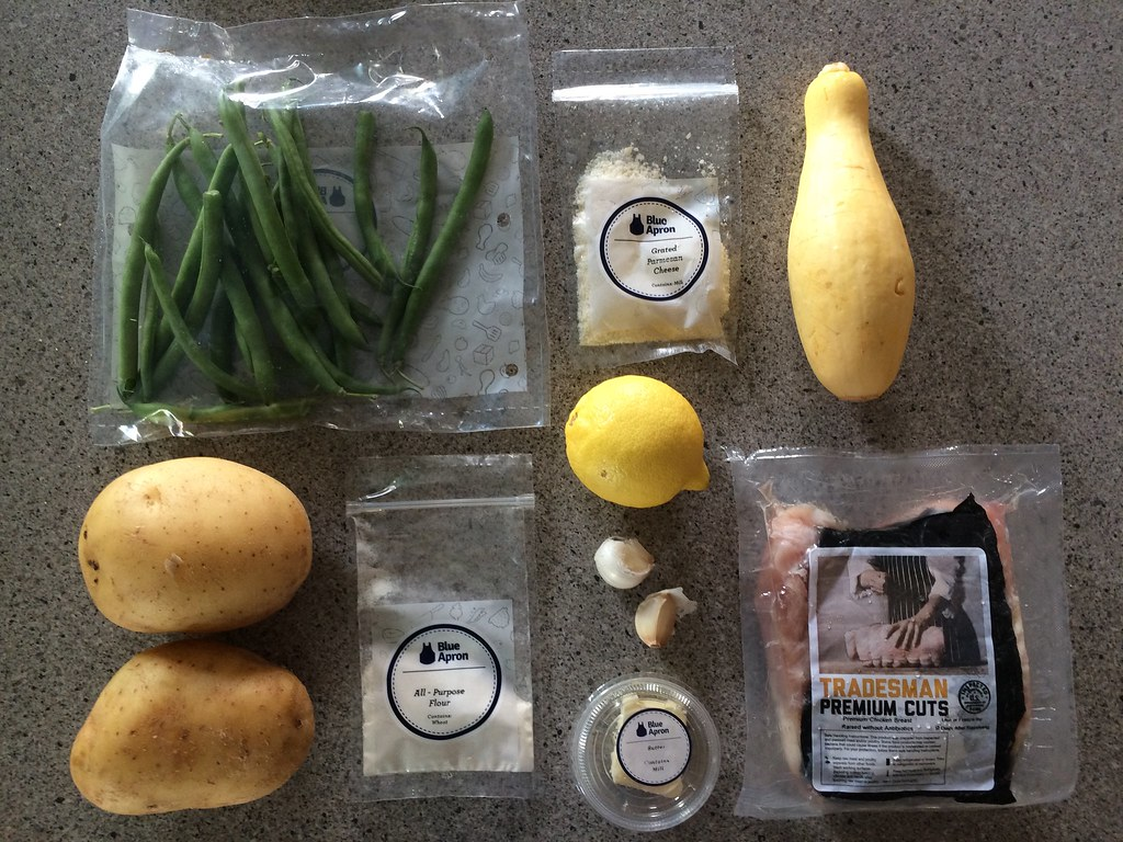 Blue apron yellow squash - I Lightly Blanched The Green Beans And Tossed Them In The Pan Sauce While Rounds Of The Summer Squash Topped With Parmesan Roasted In The Oven Alongside