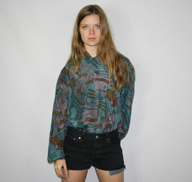 Vintage Womens Green Blue Patterned Pure Silk Shirt Blouse