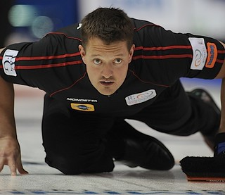 Penticon B.C.Jan10_2013.World Financial Group Curling.Team North America lead Ben Hebert.CCA/michael burns photo | by seasonofchampions