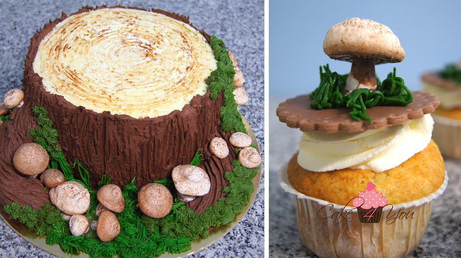 Tort Pień Drzewa I Cupcake Z Grzybkiem Torty Artystyczne
