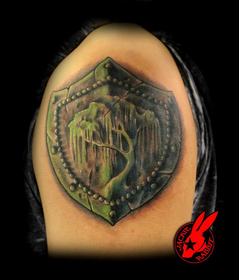 Willow tree shield tattoo by jackie rabbit custom tattoo for Customize tattoos for free