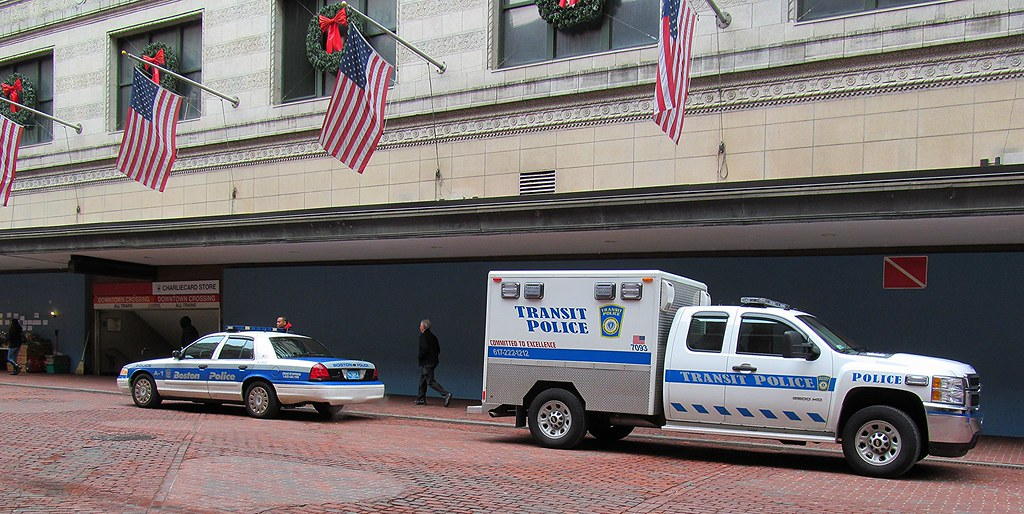 Boston Police Car And Transit Police Truck Back To Back