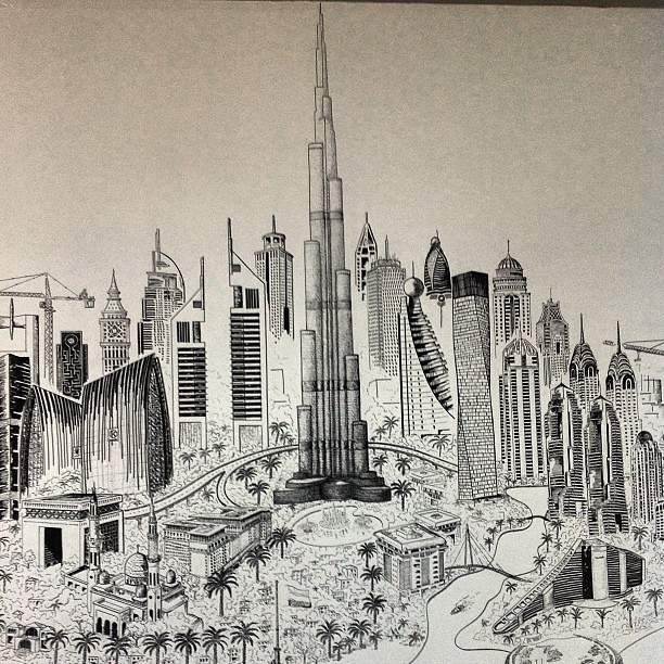 D Painting Exhibition In Dubai : Burj khalifa art in an office not far from the real one