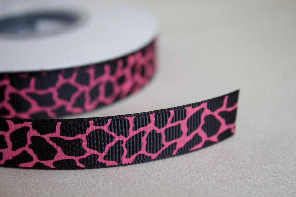 Ripsband 15mm, Giraffe pink