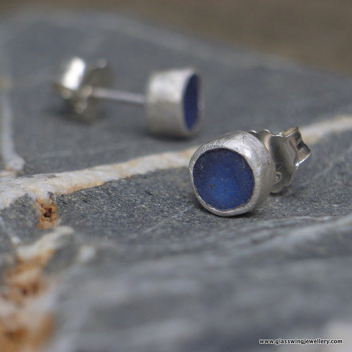 Blue sea glass studs | by Glasswing Jewellery