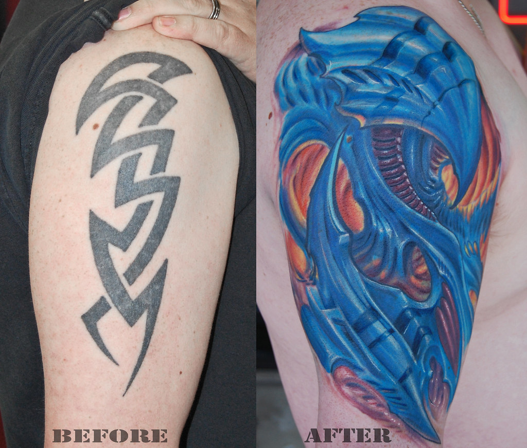Biomechanical Coverup  GWooKi Tattoos Flickr