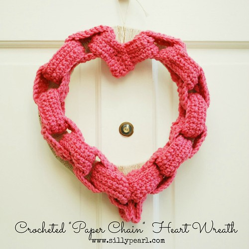 Crocheted Paper Chain Heart Wreath - The Silly Pearl | by steph2pigs