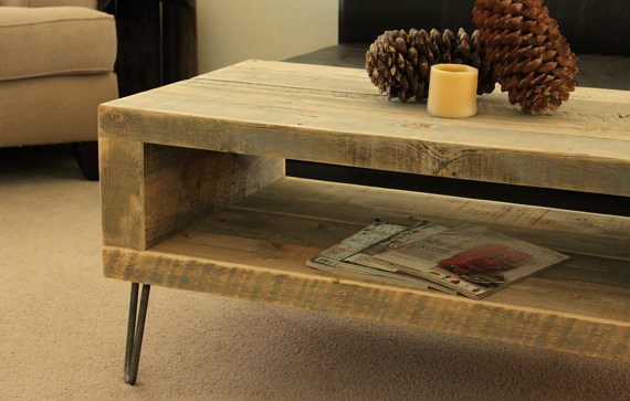 Reclaimed Wood Open Storage Coffee Table Console Www