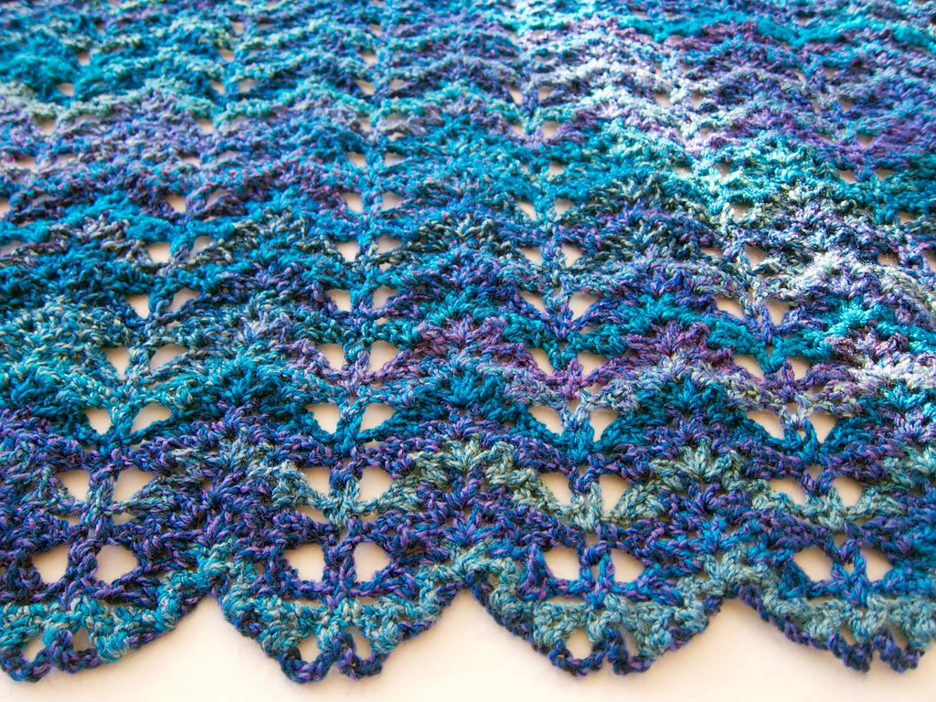 Blue Purple Turquoise Lacy V Stitch Ripple Afghan No 14