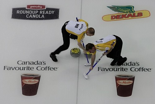 Edmonton Ab.Mar4,2013.Tim Hortons Brier.Manitoba lead Mark Nichols,second Reid Carruthers.CCA/michael burns photo | by seasonofchampions