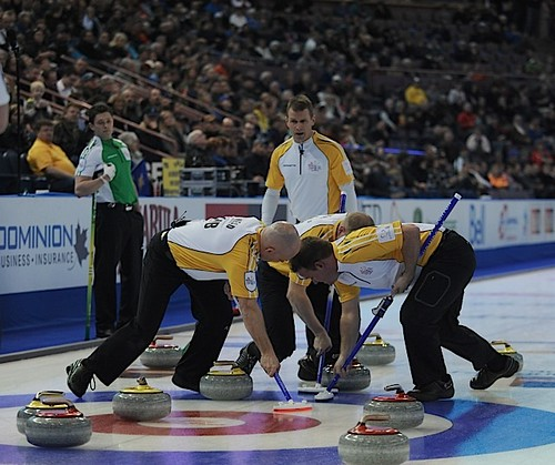 Edmonton Ab.Mar5,2013.Tim Hortons Brier.Manitoba skip Jeff Stoughton,third Jon Mead,second Reid Carruthers,lead Mark Nichols.CCA/michael burns photo | by seasonofchampions
