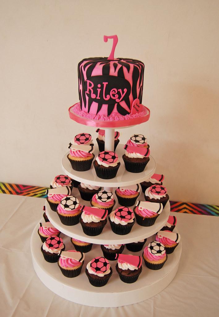 Zebra Print Cupcake Cake