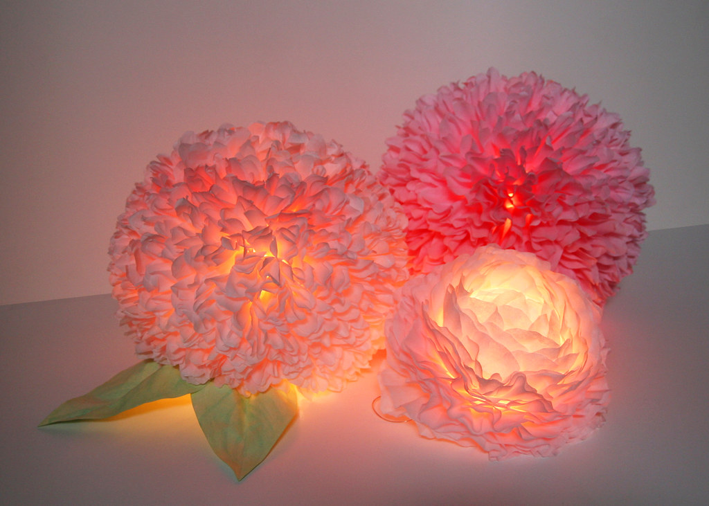 Coffee filter flower centerpiece created by zipper