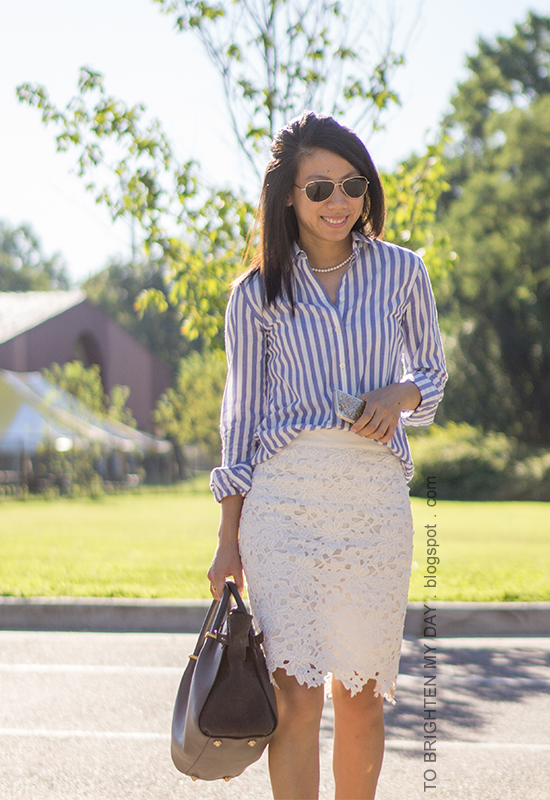blue striped button up shirt, pearl necklace, white lace pencil skirt, gray tote