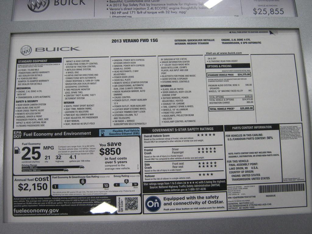 2013 Buick Verano Fwd 1sg Window Sticker 25 855 Flickr