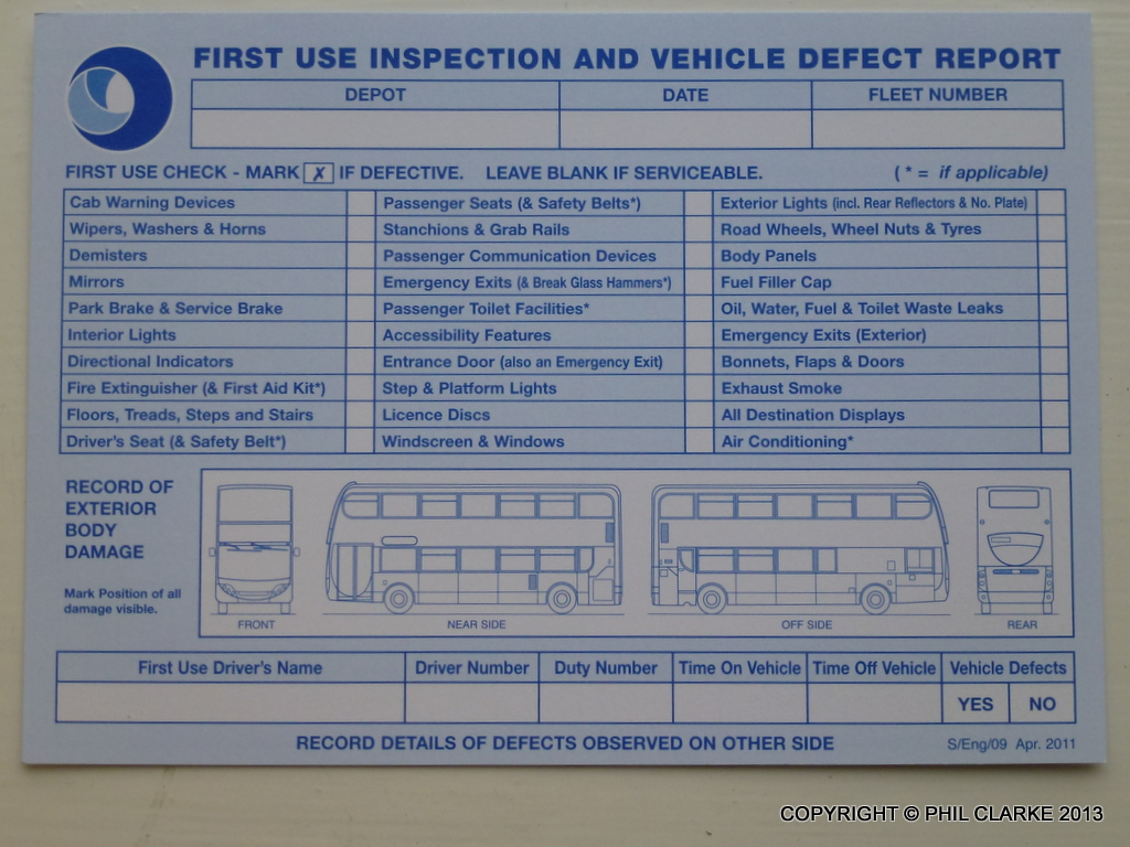 Free Vehicle Report >> Stagecoach UK Bus Defect Card (1) | Phil Clarke | Flickr