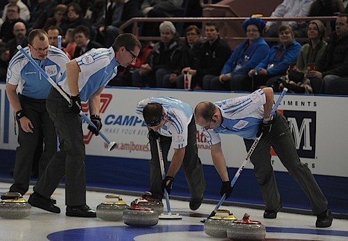 Edmonton Ab.Mar7,2013.Tim Hortons Brier.Quebec skip Jean Michel Menard,third Martin Crete,second Eric Sylvain,lead Phillippe Menard.CCA/michael burns photo | by seasonofchampions