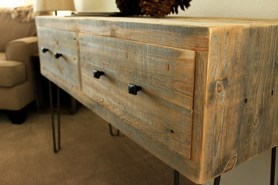 Reclaimed wood two drawer television stand Reclaimed wood furniture colorado