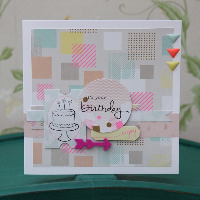 Geometric Neon birthday cake card by StickerKitten