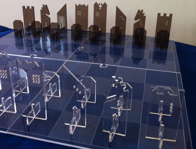 2d Abstract Chess Set Laser Cut From Acrylic On Kickstarte