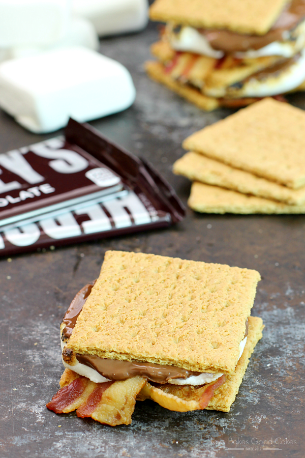 Bacon S'mores with a Hershey's Chocolate bar and marshmallows.