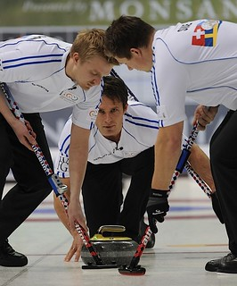 Penticton B.C.Jan12_2013.World Financial Group Continental Cup.Team World skip Thomas Ulsrud,lead Havard Vad Peterson,second Christoffer Svae.CCA/michael burns photo | by seasonofchampions