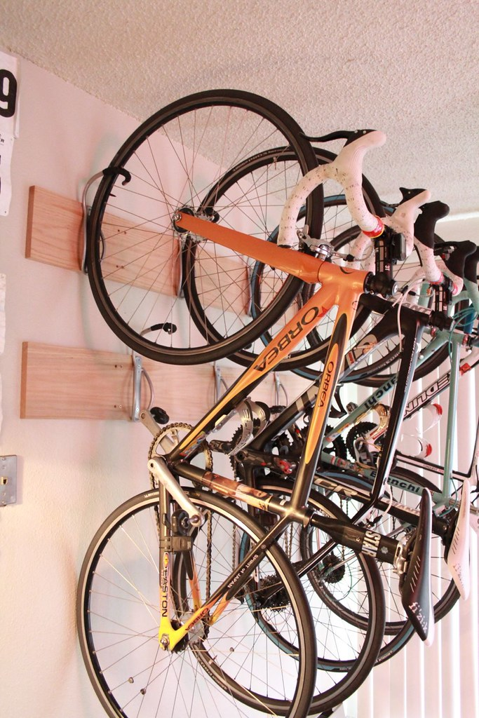 high density bike rack by using a hardwood plank to anchor flickr. Black Bedroom Furniture Sets. Home Design Ideas