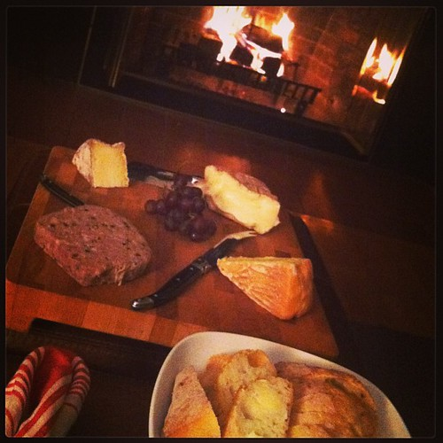Skipped our usual thursday night out in favor of the annual Formaggio Kitchen picnic dinner by the fire. ❤ ( @mscelfo, you almost lured us in w those pics, despite a no v-day out rule!) #valentines #cheese #charcuterie | by kflaim