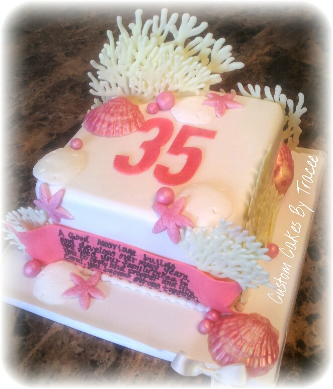 35th coral wedding anniversary cake one of my good for 35th birthday decoration ideas
