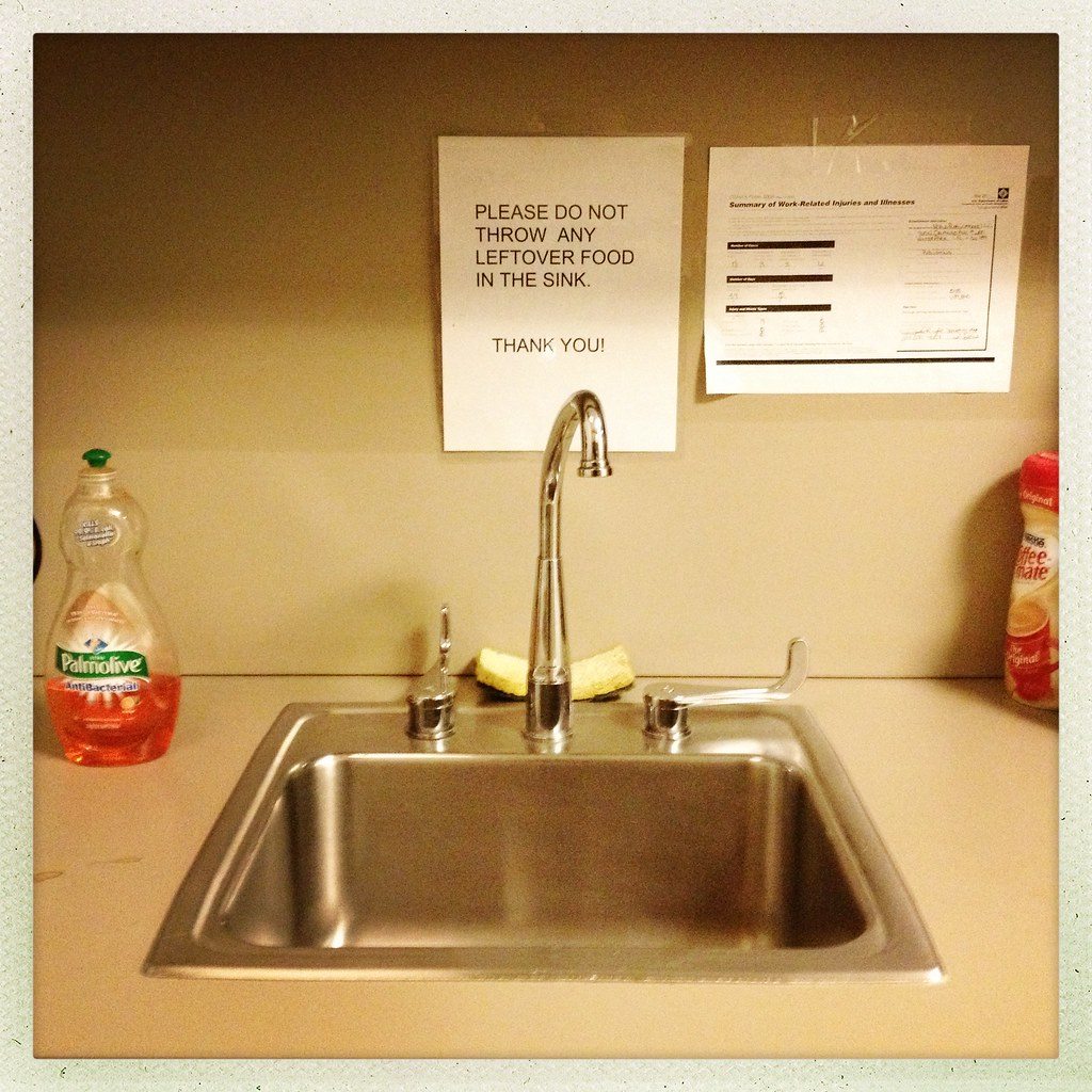Please do not throw any leftover food in the sink. Thank Y… | Flickr