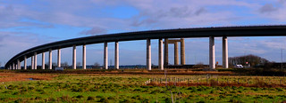The Sheppey Crossing (foreground), and the Kingsferry bridge (background). | by Bearded iris.